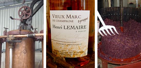 Photo bouteille vieux marc de champagne egrappe